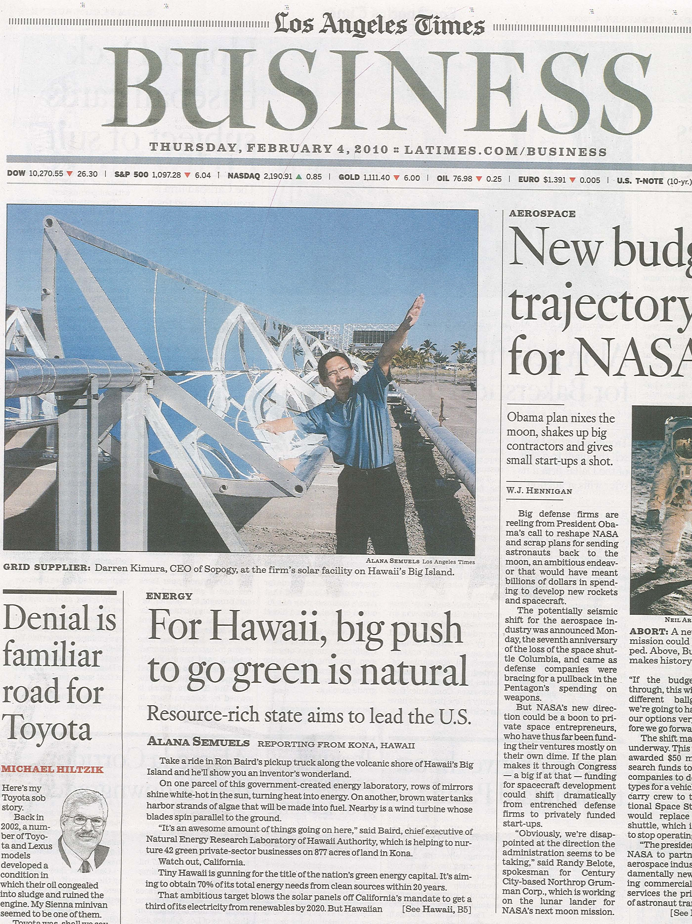 LA Times: For Hawaii, big push to go green is natural ...