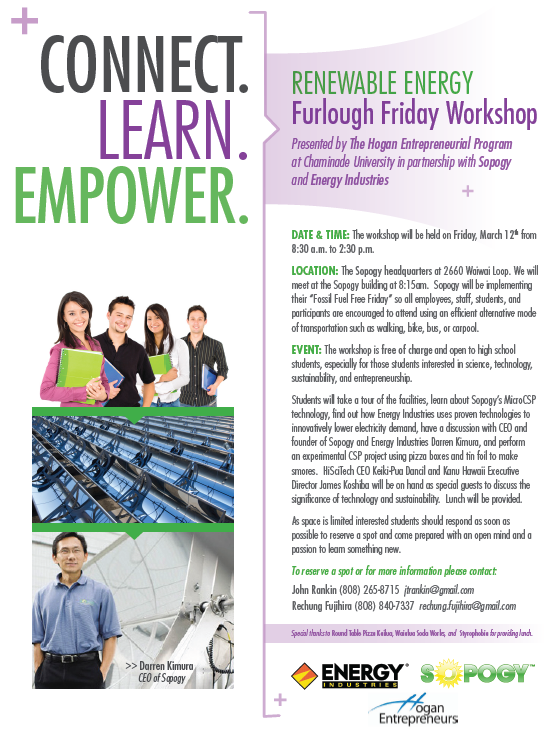 Furlough Friday at Sopogy & Energy Industries